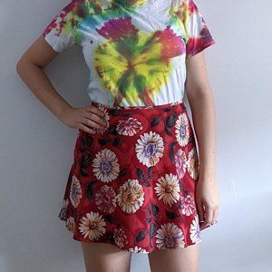 1990's Psychedelic Floral Mini Skirt